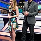 Justin Timberlake and Amanda Seyfried filmed a talk show in a studio in Madrid.