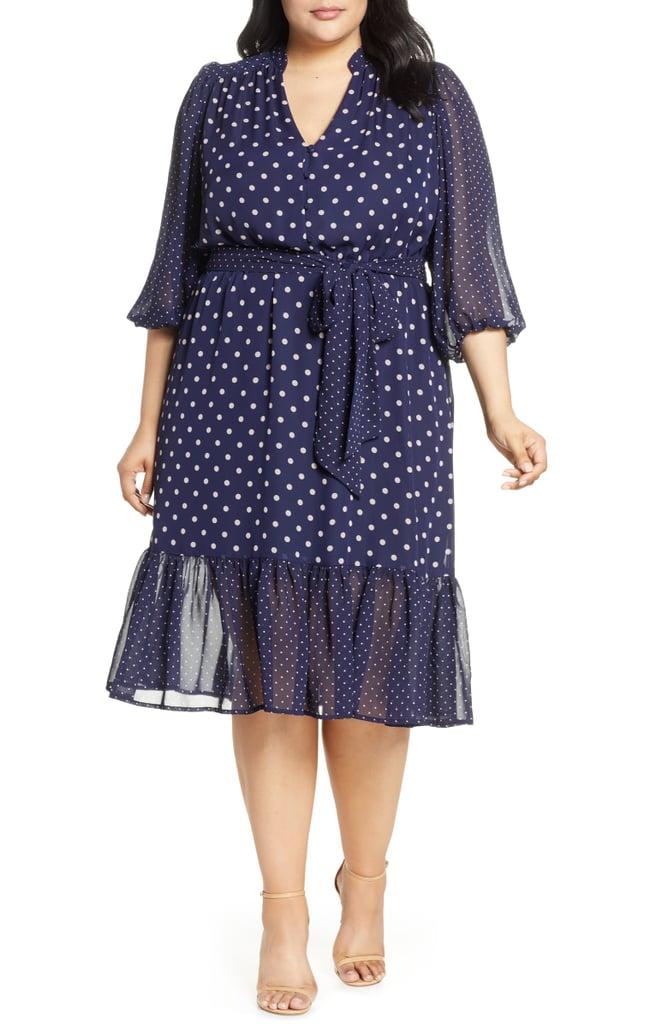 f859b036e0d9 Eliza J Polka Dot Chiffon Dress | Best Plus-Size Summer Dresses ...