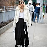 Winter Outfit Idea: A Cozy White Jacket and Long Skirt