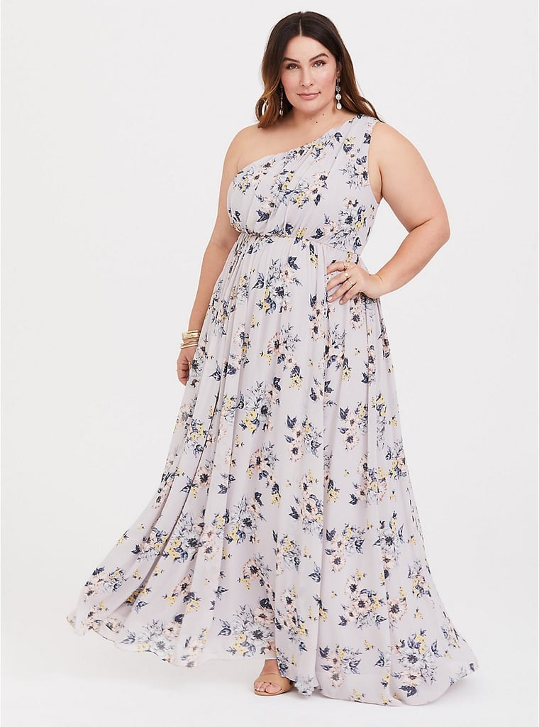 bc57586617c Torrid Floral Chiffon One-Shoulder Dress