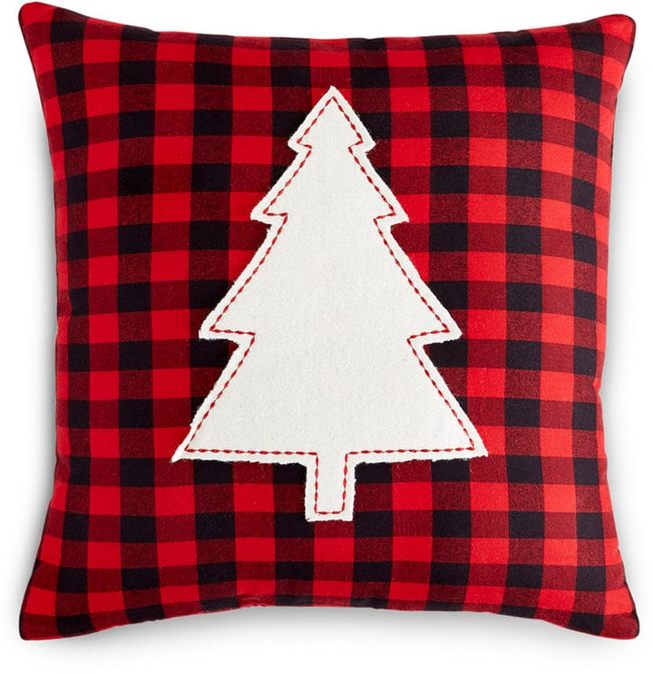 holiday lane 16x16 check pillow with christmas tree appliqu