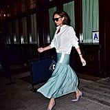 In September 2017, the designer was spotted wearing a pair of lavender heels with a light turquoise skirt and white shirt.