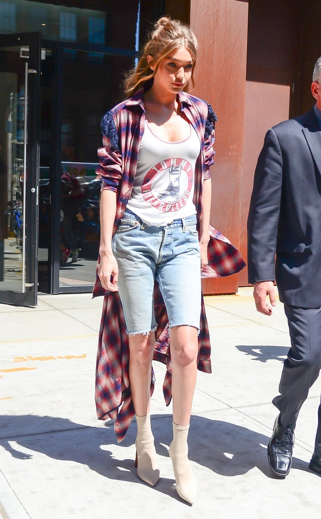 Gigi Hadid Styled the New It Boot With Bermuda Shorts, and We Don't Hate It