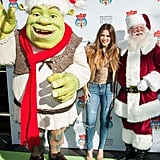 Khloé Kardashian hung out with Santa Claus and Shrek in LA on Thursday.