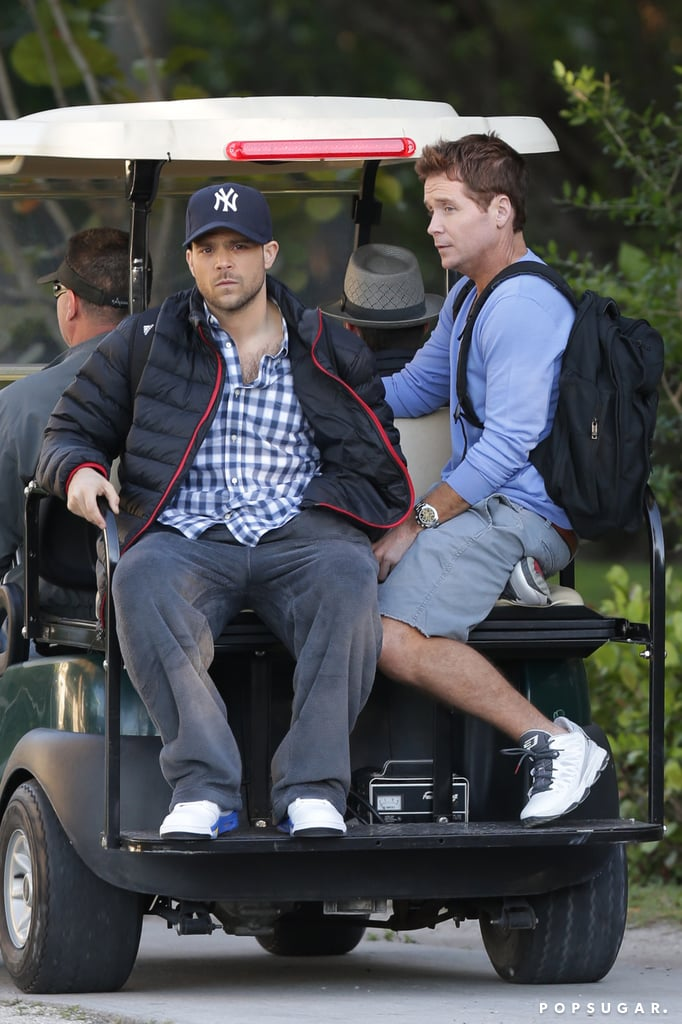 Kevin Connolly and Jerry Ferrara took a ride on a golf cart.