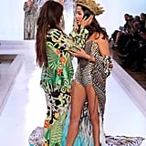 Camilla Franks and Jessica Gomes shared a tender moment on the catwalk during the David Jones Spring Summer Fashion Launch in Sydney on July 31.