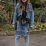 Go the edgy route with a frayed denim jacket and skirt-jean hybrid.
