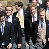 Prince Harry walked with friends.