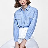 Zara Two-Toned Topstitch Overshirt