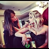Ashley Benson got her hair and makeup done for the Teen Choice Awards. Source: Instagram user itsashbenzo