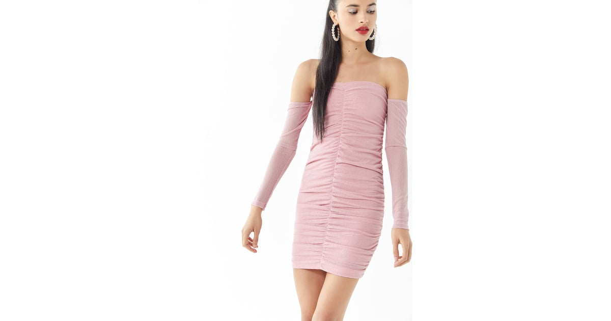 b4da90ed61 Motel Azalea Mesh Ruched Off-the-Shoulder Minidress | Sexy Pink ...