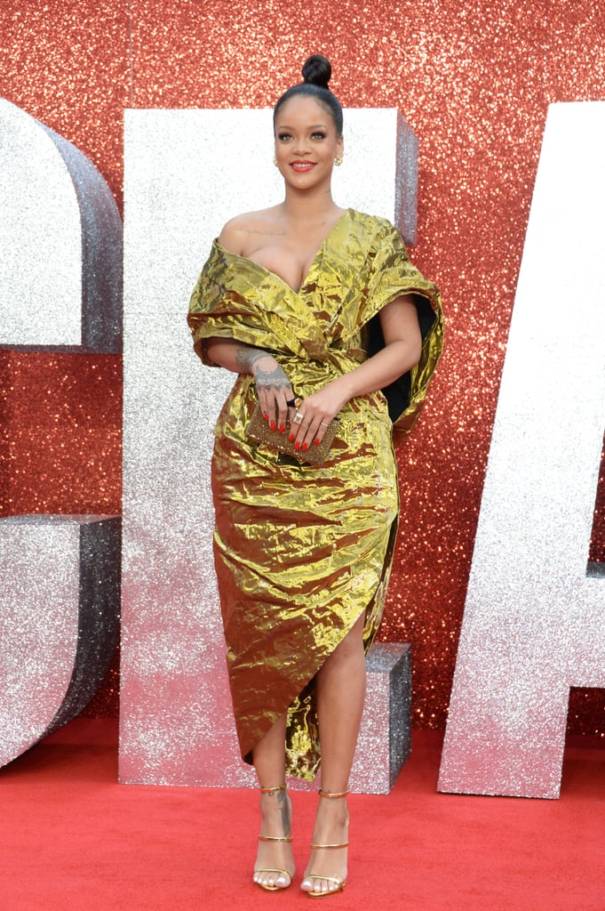 Rihanna\'s Gold Dress at Ocean\'s 8 Premiere in London | POPSUGAR Fashion