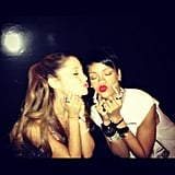 Rihanna and Ariana Grande snapped silly photos backstage. Source: Instagram user arianagrande