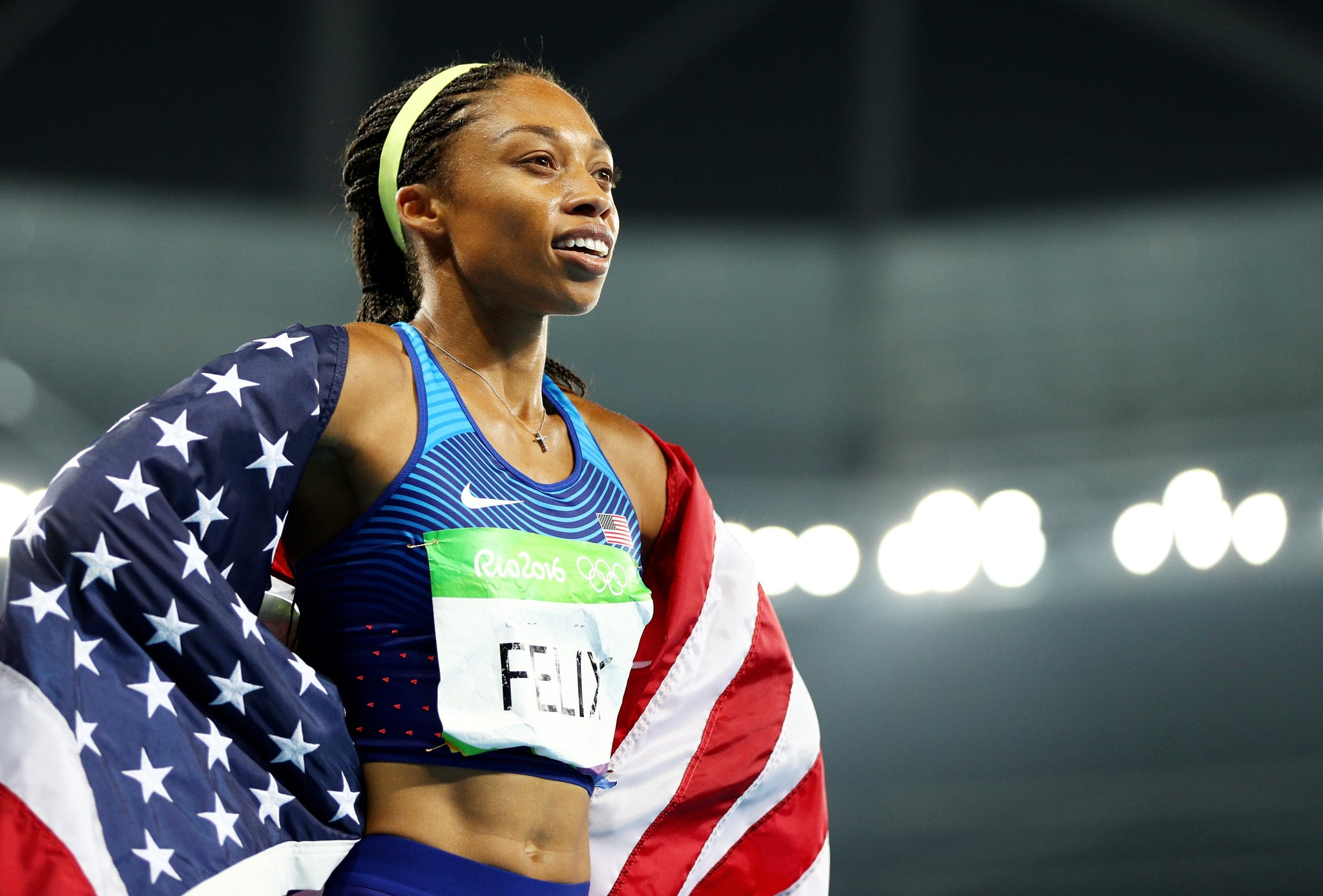 RIO DE JANEIRO, BRAZIL - AUGUST 20:  Allyson Felix of the United States reacts after winning gold during the Women's 4 x 400 meter Relay on Day 15 of the Rio 2016 Olympic Games at the Olympic Stadium on August 20, 2016 in Rio de Janeiro, Brazil.  (Photo by Ian Walton/Getty Images)