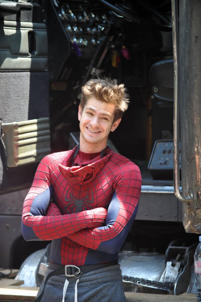 Andrew Garfield hung out in his Spider-Man suit and some sweatpants on the set of The Amazing Spider-Man 2 in NYC on Saturday.
