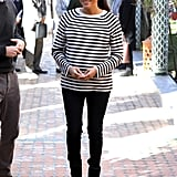 Meghan in a Breton Top and Jeans