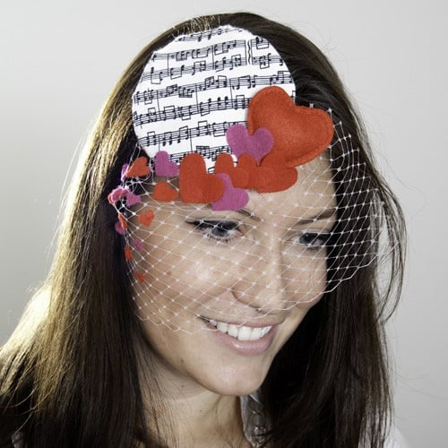 Love Notes Hair Piece With Hearts and Birdcage Veil ($40)