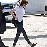 Kristen Stewart traveled solo.