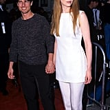 Nicole wearing a crisp white coordinate set at the LA premiere of Mission: Impossible in 1996.