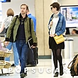 Anne Hathaway and Adam Shulman walked through LAX together.