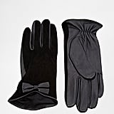 Oasis Suede Bow Glove in Black