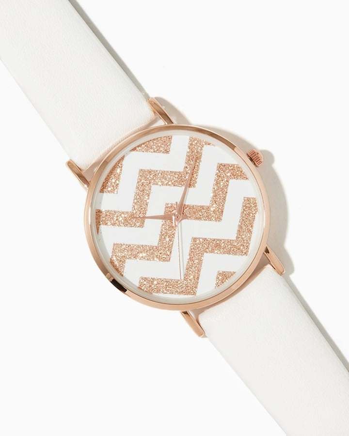 Charming Charlie Glitter Chevron Leather Watch