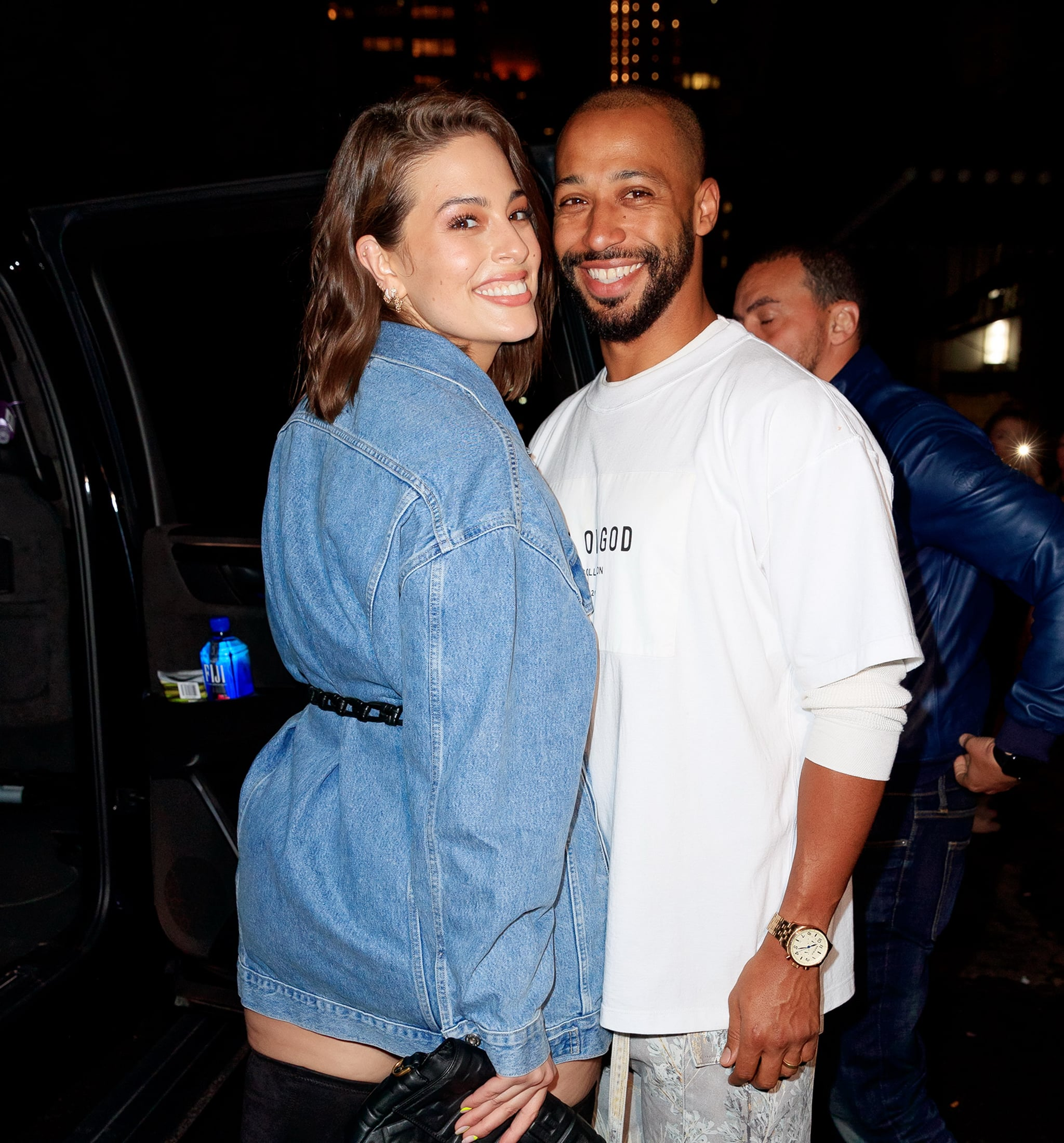 NEW YORK, NY - APRIL 22:  Ashley Graham and Justin Ervin arrive at Gigi Hadid's birthday party at Chalet on April 22, 2019 in New York City.  (Photo by Gotham/GC Images)