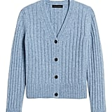 Merino-Blend Boxy Cropped Cardigan Sweater
