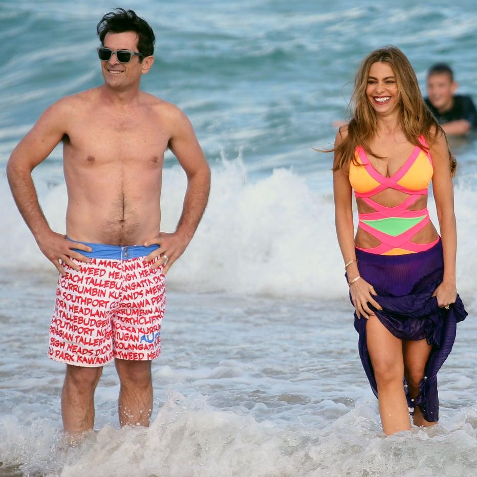b3f9e1f159dd3 Sofia Vergara in a Swimsuit Filming Modern Family in Sydney | POPSUGAR  Celebrity