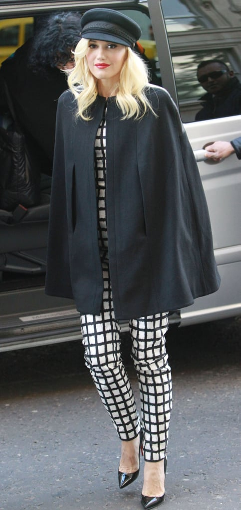 Gwen Stefani covered up a black and white outfit with a cape as she headed out in London today. She's back to her stylish self after changing up her look for Halloween. Gwen was a bloody Sandy from Grease to attend Jonathan Ross's party with her bandmate Tony Kanal, Helena Bonham Carter, Kate Moss, and others. Before enjoying her own spooky night, Gwen took Zuma trick-or-treating in his Star Wars Stormtrooper suit. In the midst of preparing for Halloween, Gwen made sure to place her vote in the upcoming presidential race. She's just one of many celebrities getting involved in the election, which officially takes place on Tuesday.