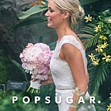 Katrina Bowden carried a pink bouquet for her wedding.