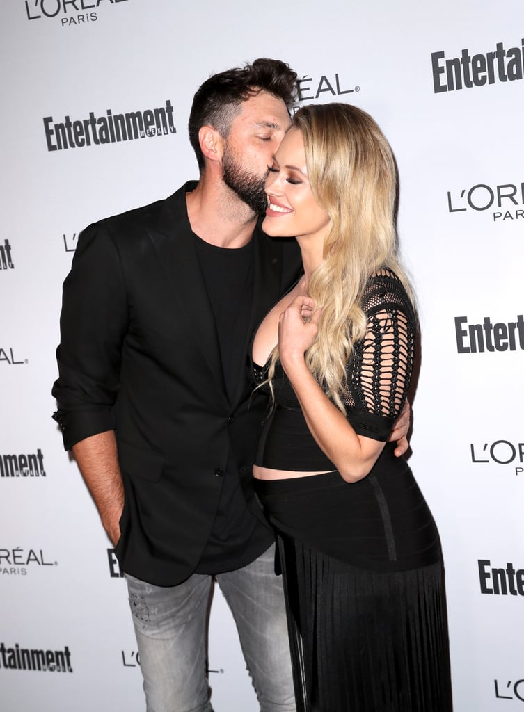 Peta Murgatroyd and her fiancé, Maksim Chmerkovskiy, popped up at Entertainment Weekly's pre-Emmys bash in LA on Friday night. The couple, who is expecting their first child together, exchanged loving looks and showed some sweet PDA while posing for photographers on the red carpet. The event marked the Dancing With the Stars pros' first official public appearance since Peta's pregnancy announcement back in June, though we have seen her out and about plenty of times and she often takes to Instagram to flaunt her growing belly.       Related:                                                                Maksim Chmerkovskiy and Peta Murgatroyd's Romance Is as Sexy as Their Dance Moves                                                                   Buns in the Oven: 21 Stars Who Are Expecting Babies in the New Year