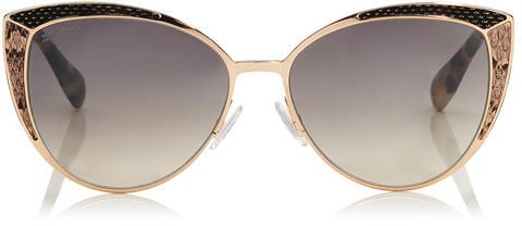 Jimmy Choo DOMI Metal Framed Cat Eye Sunglasses with Snakeskin Leather Detail ($495)