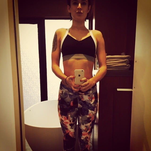 Rumer Willis was psyched about evening yoga in her new outfit.