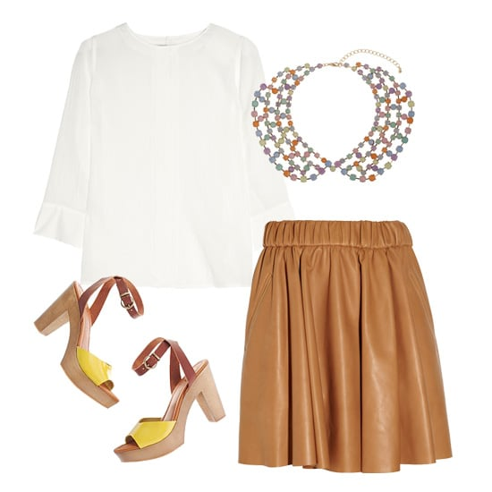We love this sweet, ladylike look for the office. Tuck a pretty white blouse into a caramel-hued pleated leather skirt, and slip into a pair of cool colorblock sandals. For extra polish, add a beaded collar necklace.  J Brand Franklin Blouse ($280), Topshop Peter Pan Collar Necklace ($70), Acne Romantic Leather Skirt ($1,400), Madewell Sandybank Sandal ($168)