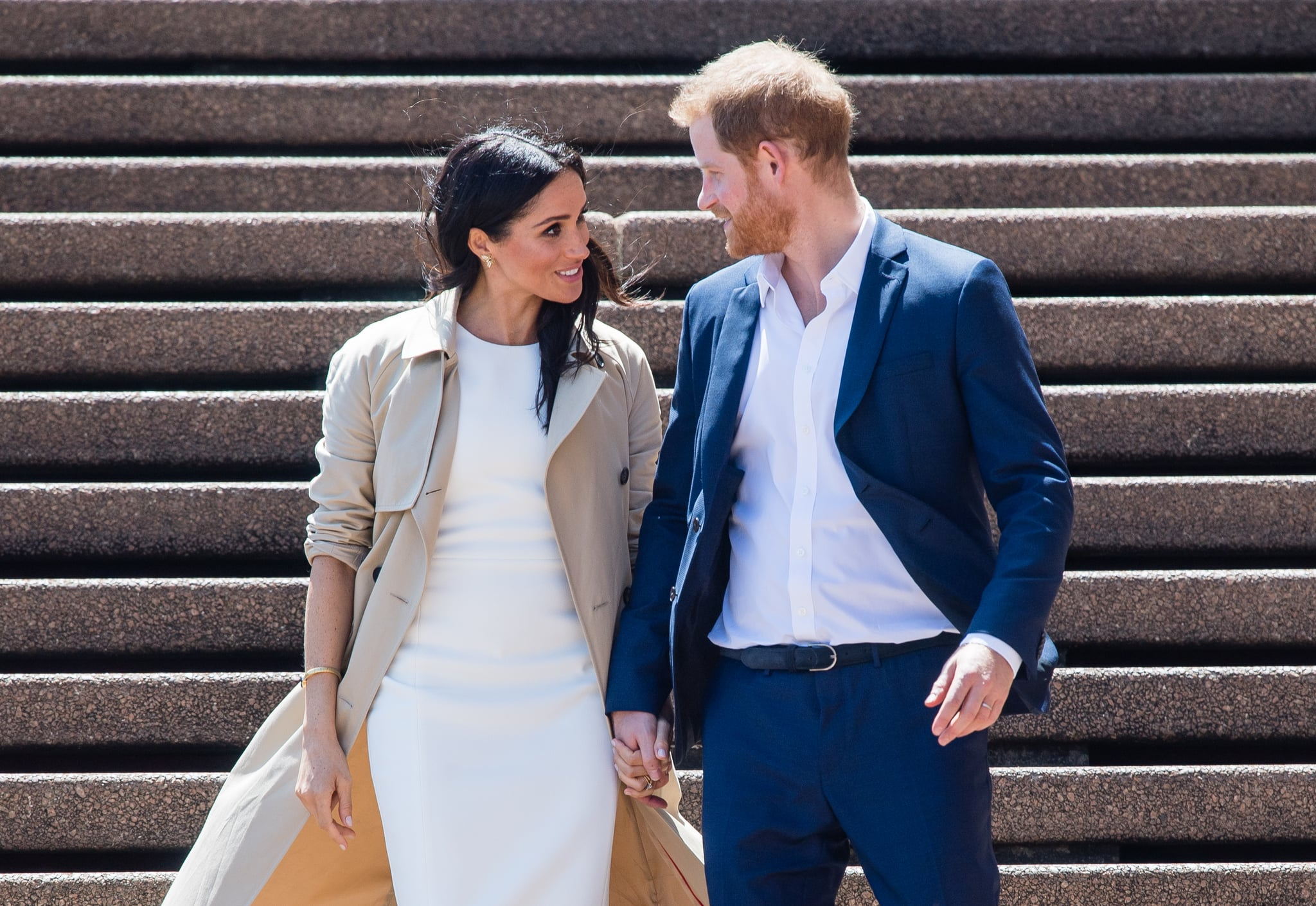 SYDNEY, AUSTRALIA - OCTOBER 16:  Meghan, Duchess of Sussex and Prince Harry, Duke of Sussex take part in a public walkabout at the Sydney Opera House on October 16, 2018 in Sydney, Australia. The Duke and Duchess of Sussex are on their official 16-day Autumn tour visiting cities in Australia, Fiji, Tonga and New Zealand.  (Photo by Samir Hussein/Samir Hussein/WireImage)
