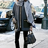 This gray-and-black look is all kinds of chic.