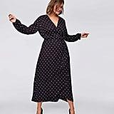 Loft Plus Polka Dot Wrap Midi Dress