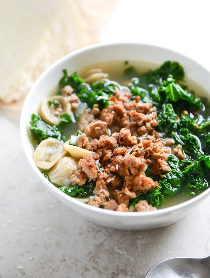 Spicy Sausage, Kale, and Orecchiette Soup