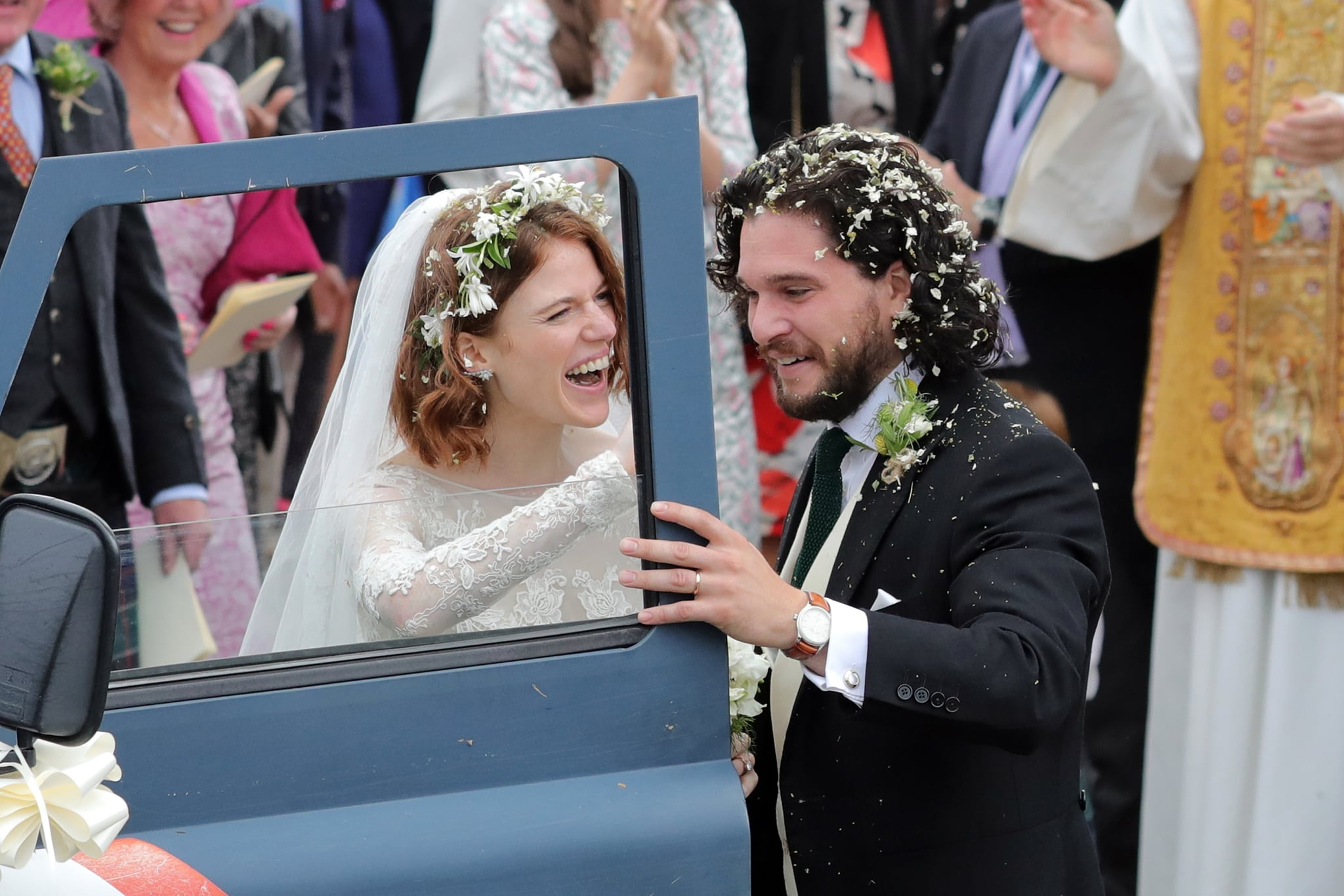 ABERDEEN, SCOTLAND - JUNE 23:  Kit Harrington and Rose Leslie departing Rayne Church in Kirkton on Rayne after their wedding on June 23, 2018 in Aberdeen, Scotland.  (Photo by Mark R. Milan/GC Images)