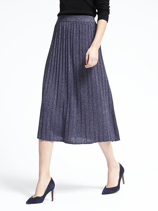 Pleated Metallic Midi Skirt ($118)