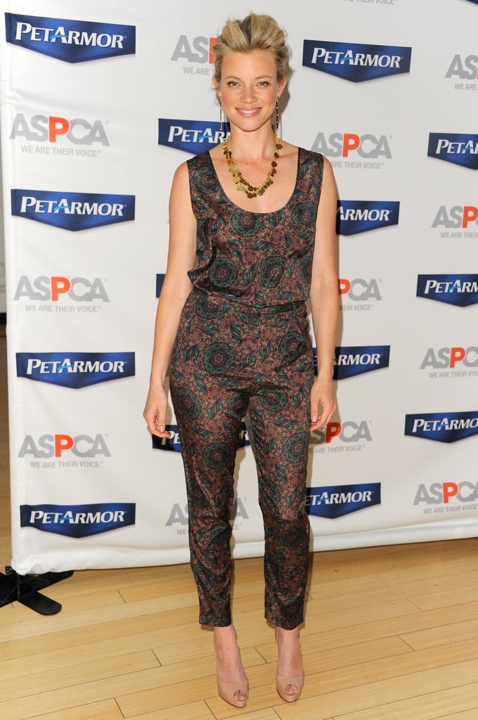 Amy Smart's printed ensemble is actually two pieces, but in the same pattern gives the illusion of a jumpsuit — try this trick if you're just easing into the trend.