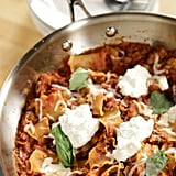 Cook no-boil lasagna in meat sauce over the stovetop for a one-pan, skillet meal.
