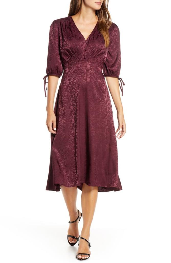 Maison Tara Tie Sleeve Satin Jacquard Midi Dress