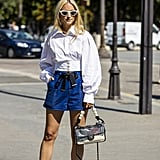 Pair Your Denim Shorts With a Puff-Sleeve Top and Slingback Heels