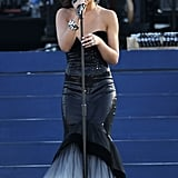 Cheryl Cole wore a tight black gown for her performance during the Diamond Jubilee concert.
