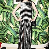 Lily McMenamy made a graphic statement in Marc Jacobs at the Purple Fashion and Proenza Schouler dinner.