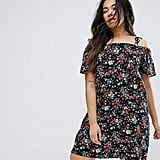Yumi Plus Dress With Cold Shoulder In Floral Print