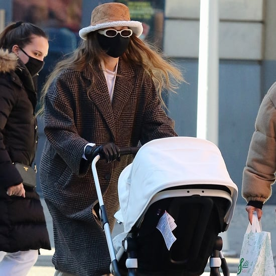 Shop Gigi Hadid's Mango Coat and Shearling LV Bucket Hat