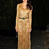 Fashion editor Caroline Seiber wore gold lace.